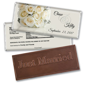 Personalized Wedding Favor Embossed Chocolate Bar White Roses Bouquet