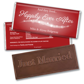 """Personalized Wedding Favor Embossed Chocolate Bar """"Happily Ever After"""""""