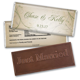 Wedding Favor Personalized Embossed Chocolate Bar Monogram Leaves Swirls