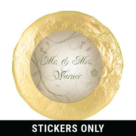 "Wedding Favor 1.25"" Sticker Monogram Leaves Swirls (48 Stickers)"
