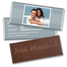 Wedding PortraitEmbossed Just Married Bar Personalized Embossed Chocolate Bar Assembled
