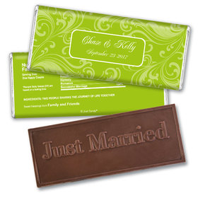 Personalized Wedding Favor Embossed Chocolate Bar Filigree