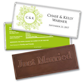 Personalized Wedding Favor Embossed Chocolate Bar Monogram Flower Seal