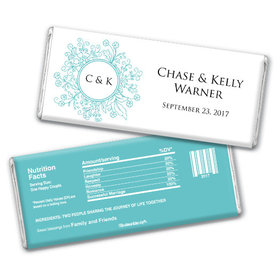 Wedding Favor Personalized Chocolate Bar Monogram Flower Seal
