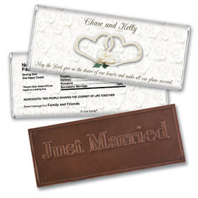 Personalized Wedding Favor Embossed Chocolate Bar Two Hearts Lord's Blessing