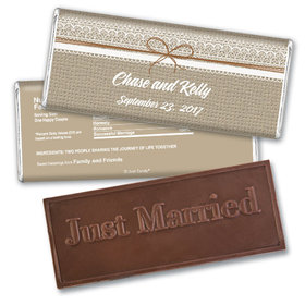 Burlap & LaceEmbossed Just Married Bar Personalized Embossed Chocolate Bar Assembled