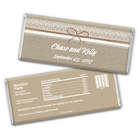Wedding Favor Personalized Chocolate Bar Burlap and Lace