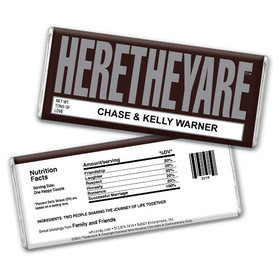 "Wedding Favor Personalized Chocolate Bar HERETHEYARE ""Here They Are"""