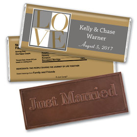 Personalized Wedding Favor Embossed Chocolate Bar Pop Art Square Love