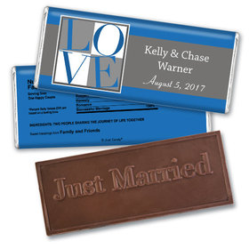 Wedding Favor Personalized Embossed Chocolate Bar Pop Art Square Love