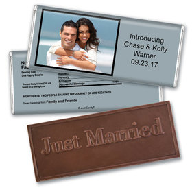 Personalized Wedding Favor Embossed Chocolate Bar Photo & Message