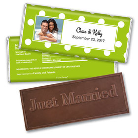 Personalized Wedding Favor Embossed Chocolate Bar Polka Dots