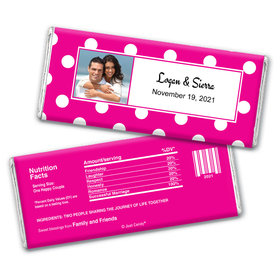 Polka Dots Wedding Photo Personalized Candy Bar - Wrapper Only