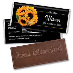 Personalized Wedding Favor Embossed Chocolate Bar Sunflower Bouquet