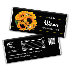 Wedding Favor Personalized Chocolate Bar Sunflower Bouquet