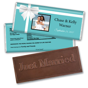 Personalized Wedding Favor Embossed Chocolate Bar Tiffany Style Gift