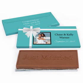 Deluxe Personalized Tiffany Style Wedding Chocolate Bar in Gift Box
