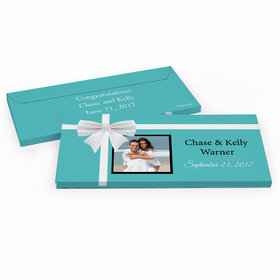 Deluxe Personalized Tiffany Style Wedding Hershey's Chocolate Bar in Gift Box