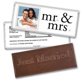 Personalized Wedding Favor Embossed Chocolate Bar Mr & Mrs Photo