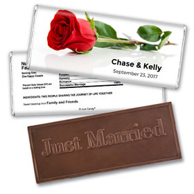 Personalized Wedding Favor Embossed Chocolate Bar One Red Rose