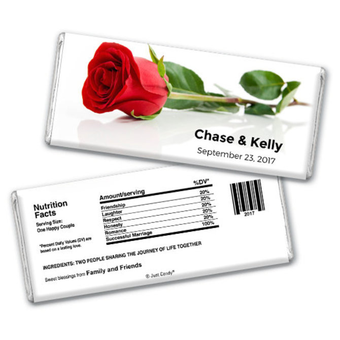 Wedding Favor Personalized Chocolate Bar One Red Rose Larger View Of Product