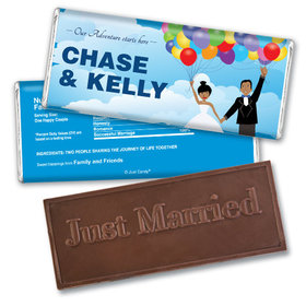 Personalized Wedding Favor Embossed Chocolate Bar Bride and Groom Up Theme