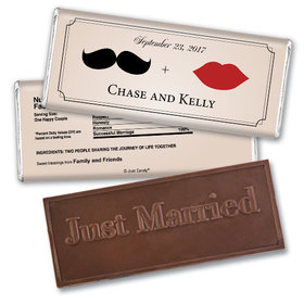 Wedding Favor Personalized Embossed Chocolate Bar Mustache and Lips