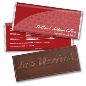 Personalized Wedding Favor Embossed Chocolate Bar Lattice Pattern