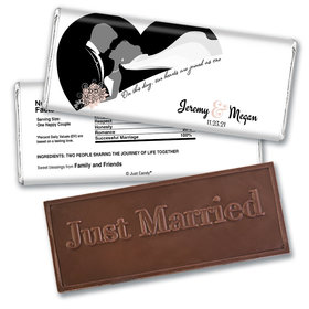 One Heart Personalized Embossed Just Married Bar Assembled