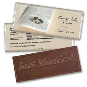 Personalized Wedding Favor Embossed Chocolate Bar Bible and Rings
