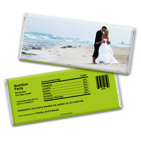 All About Us Embossed Just Married Bar Personalized Embossed Chocolate Bar Assembled