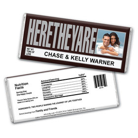 "Wedding Favor Personalized Chocolate Bar HERETHEYARE ""Here They Are"" Photo"