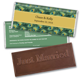 Personalized Wedding Favor Embossed Chocolate Bar Peacock Feathers