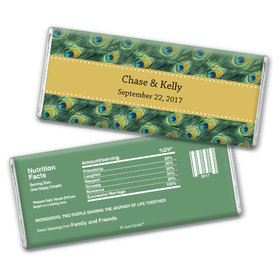 Wedding Favor Personalized Chocolate Bar Peacock Feathers
