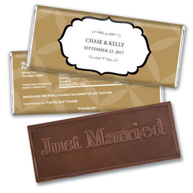 Wedding Favor Personalized Embossed Chocolate Bar Flower Petal Pattern