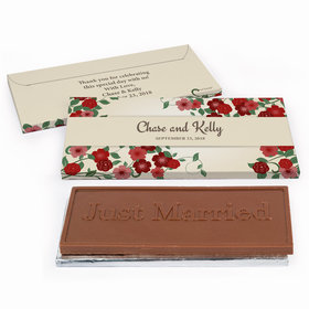 Deluxe Personalized Boho Wedding Flowers Wedding Chocolate Bar in Gift Box