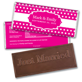 Personalized Wedding Favor Embossed Chocolate Bar Small Polka Dots