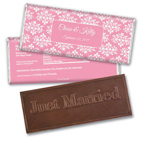 Personalized Wedding Favor Embossed Chocolate Bar Floral Lattice