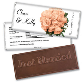 Personalized Wedding Favor Embossed Chocolate Bar Flower Bouquets