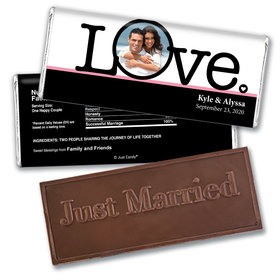 Personalized Wedding Favor Embossed Chocolate Bar Big Love Photo Cameo
