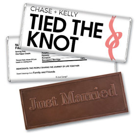 Personalized Wedding Favor Embossed Chocolate Bar Tied The Knot