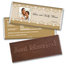 Personalized Wedding Favor Embossed Chocolate Bar Lace Photo