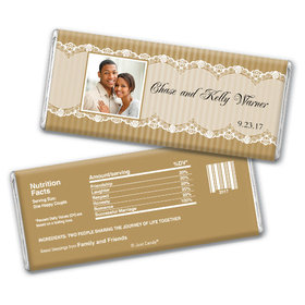 Wedding Favor Personalized Chocolate Bar Lace Photo