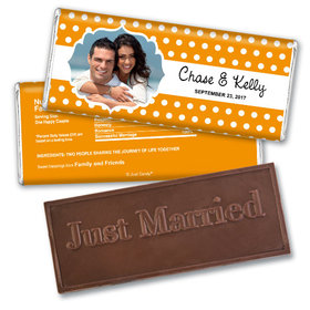 Personalized Wedding Favor Embossed Chocolate Bar Polka Dots Framed Photo