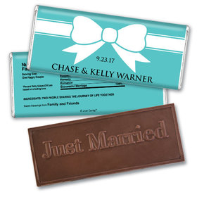 Personalized Wedding Favor Embossed Chocolate Bar Tiffany Theme Bow