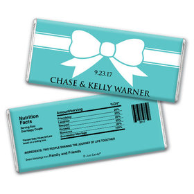 Wedding Favor Personalized Chocolate Bar Tiffany Theme Bow