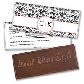 Personalized Wedding Favor Embossed Chocolate Bar Monogram Jacquard Pattern