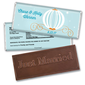 Personalized Wedding Favor Embossed Chocolate Bar Cinderella Inspired Carriage