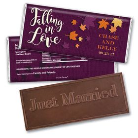 Personalized Embossed Wedding Reception Favors Embossed Just Married Chocolate Bar