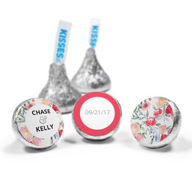 Personalized HERSHEY'S KISSES Watercolor Flowers Wedding Favors (50 Pack)